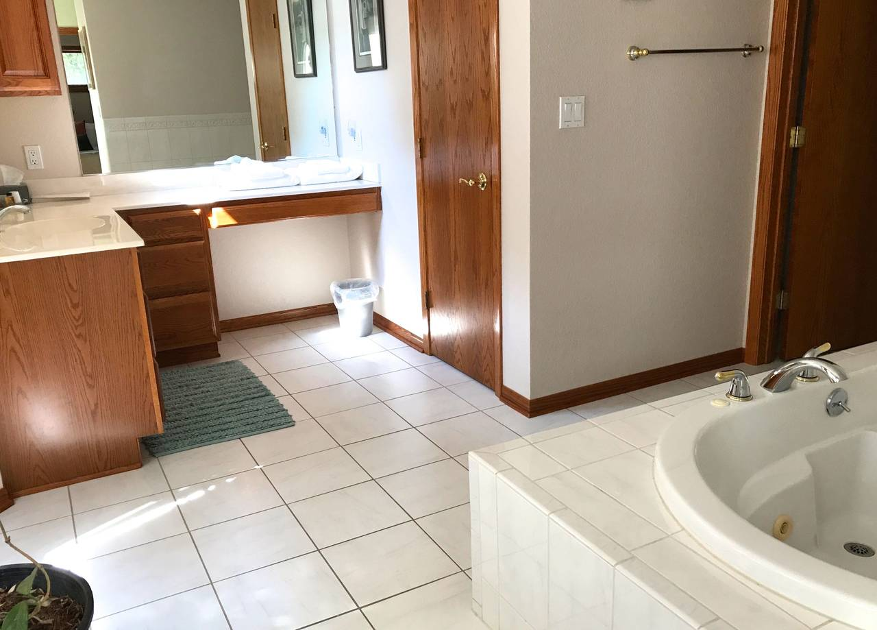 Large bathroom with jacuzzi tub and separate showe